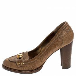 Dolce&Gabbana Brown Leather Embellished Loafer Pumps Size 38 242545