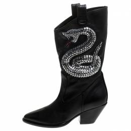 Giuseppe Zanotti Design Black Snake Embellished Leather Guns 55 Cowboy Boots Size 37 242858