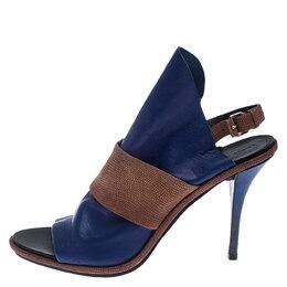 Balenciaga Blue/Brown Leather Open Toe Glove Slingback Sandals Size 40 242103