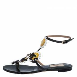 Valentino Green Leather Loves Me Not Floral Flat Sandals Size 37 241975