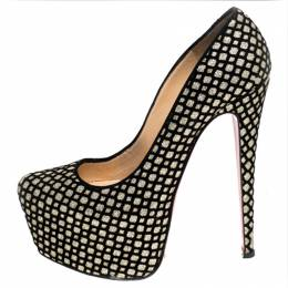 Christian Louboutin Black/Gold Glitter Floque and Suede Daffodile Platform Pumps Size 38.5 241971