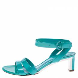 Casadei Turquoise Patent Leather Open Toe Cross Strap Mid Heel Sandals Size 36 241363