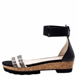 Jimmy Choo Two Tone Python Leather And Canvas Cork Platform Sandals Size 41