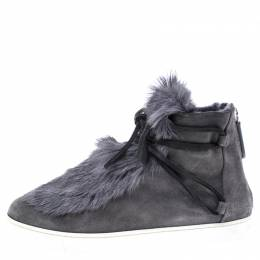 Gianvito Rossi Grey Suede And Fur Inuit Ankle Boots Size 38.5 242171