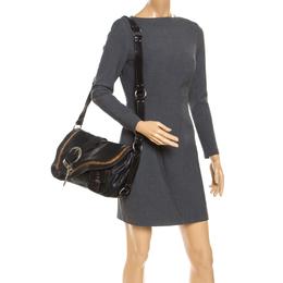 Dior Black/Brown Leather Large Gaucho Double Saddle Shoulder Bag 238443