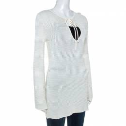 Gucci Cream Lurex Knit Tunic Top S 242364
