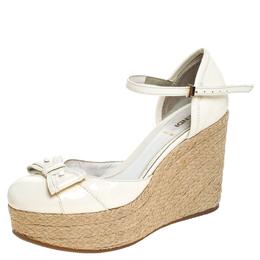 Fendi White Patent Leather Wedges Espadrille Ankle Strap Platform Sandals Size 38 242547