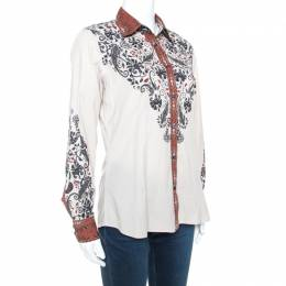 Etro Beige Printed Stretch Cotton Button Front Shirt L 241686
