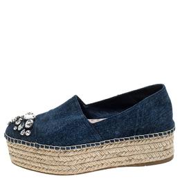 Miu Miu Blue Denim Embellished Platform Espadrilles Size 37.5 243578