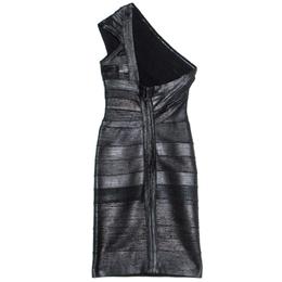 Herve Leger Black Foil Printed One Shoulder Josephine Dress XXS 241309