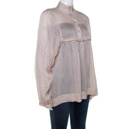 Stella McCartney Pale Pink Printed Silk Billowing Sleeve Blouse S 241549