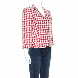 Ch Carolina Herrera Red And White Houndstooth Blazer L 242201