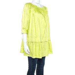 Moschino Green Cotton Drop Waist Tunic Top S 241148