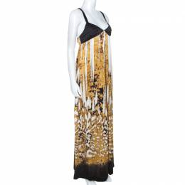 Just Cavalli Multicolor Printed Silk Pleated Bodice Detail Maxi Dress L 241751