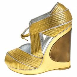 Saint Laurent Metallic Gold Leather Venice Sculpted Wedge Platform Sandals Size 36 243268