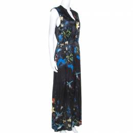Alice + Olivia Black Silk Marianna Enchanted Forest Maxi Dress M 241732