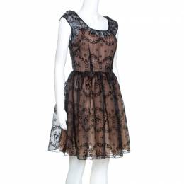 Red Valentino Black Floral Burnout Organza Short Dress S 241704