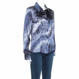 Roberto Cavalli Class Multicolor Printed Stretch Silk Satin Shirt M 241701
