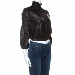 Miu Miu Black Leather Smocked Bomber Jacket S 242989