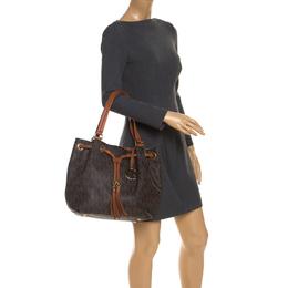 MICHAEL Michael Kors Brown Signature Coated Canvas Drawstring Shoulder Bag