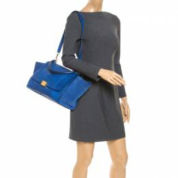 Celine Blue Python and Suede Medium Trapeze Bag 238958