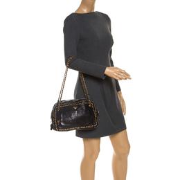 Prada Black Leather Studded Chain Shoulder Bag 239253
