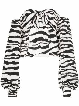 The Attico блузка с зебровым принтом и объемными рукавами 201WCT08P018020