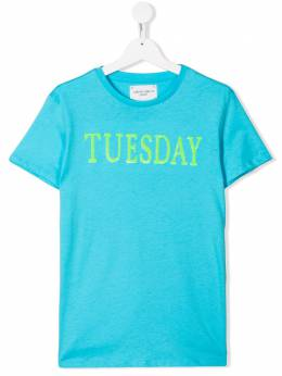 Alberta Ferretti Kids футболка с надписью Tuesday 020303