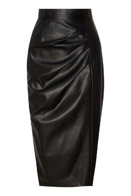 Черная кожаная юбка с драпировками Akhmadullina Dreams 1735164258