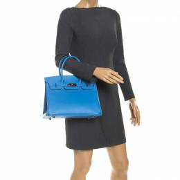 Hermes Blue Paradise Epsom Leather Palladium Hardware Birkin 30 Bag 243760