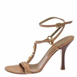 Valentino Beige Crystal Embellished Leather T Strap Sandals Size 38 242095