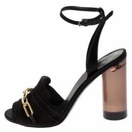 Burberry Black Satin Gold Link Detail Perspex Block Heel Sandals Size 39.5 243778