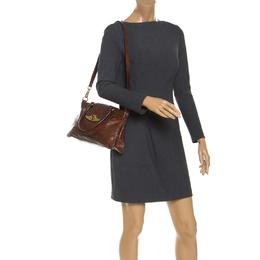 Etro Brown Paisley Embossed Leather Turnlock Shoulder Bag 241231