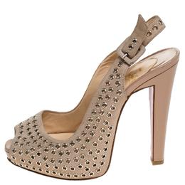 Christian Louboutin Beige Suede Eyelet Leather Aicha Peep Toe Slingback Platform Sandals Size 37.5 243542