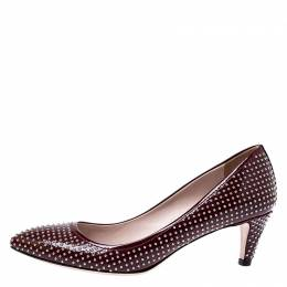 Miu Miu Burgundy Patent Leather Silver Studded Pumps Size 35.5 244053