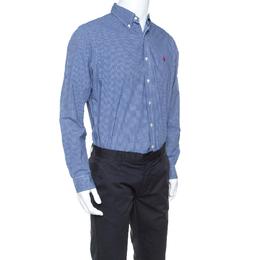 Ralph Lauren Blue Checked Cotton Button Down Collar Shirt L 241556