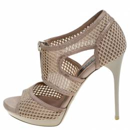 Burberry Beige Cotton Lace And Leather Trim Cut Out Platform Ankle Sandals Size 37 243527