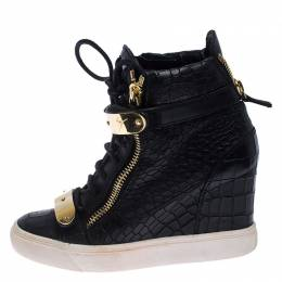 Giuseppe Zanotti Design Black Croc Embossed Leather Lorenz Wedge High Top Sneakers Size 36.5