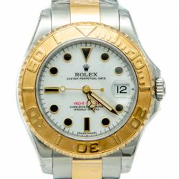 Rolex White Yacht Master I Steel & Yellow Gold Midsize Watch 35MM 244113