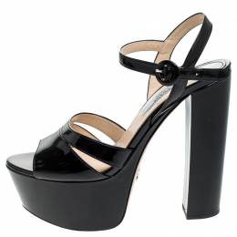 Prada Black Patent Leather Ankle Strap Block Heel Platform Sandals Size 38 243534