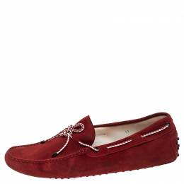 Tod's Red Suede Leather Bow Slip On Loafers Size 45.5 243744