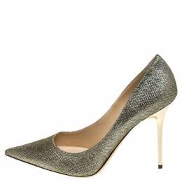 Jimmy Choo Metallic Gold Glitter Fabric Abel Pointed Toe Pumps Size 39.5