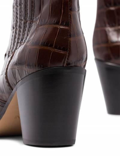 Ganni ковбойские ботинки с тиснением под крокодила 4436CALLIE927 - 5