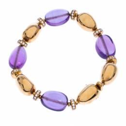Bvlgari Diamond Amethyst 18k Yellow Gold Beaded Bracelet 243621