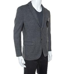 Gucci Grey Cashmere Blend Crest Detail Blazer L 243587