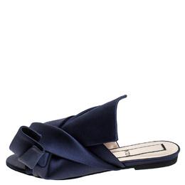 No. 21 Blue Satin Knot Flat Mules Size 37 243366