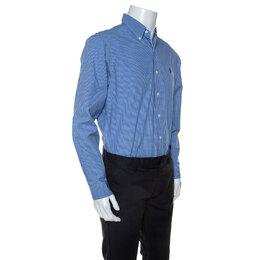 Ralph Lauren Blue Checked Cotton Button Down Collar Shirt L 241513