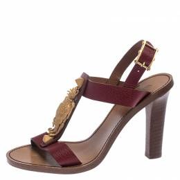 Valentino Burgundy Leather Scarab T-Strap Sandals Size 37 239904