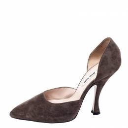 Miu Miu Brown Suede D'orsay Pointed Toe Pumps Size 38 240365