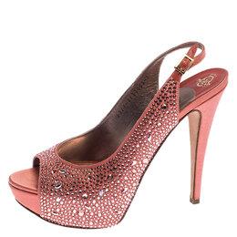 Gina Coral Orange Satin Crystal Embellished Platform Peep Toe Slingback Sandals Size 40 239803